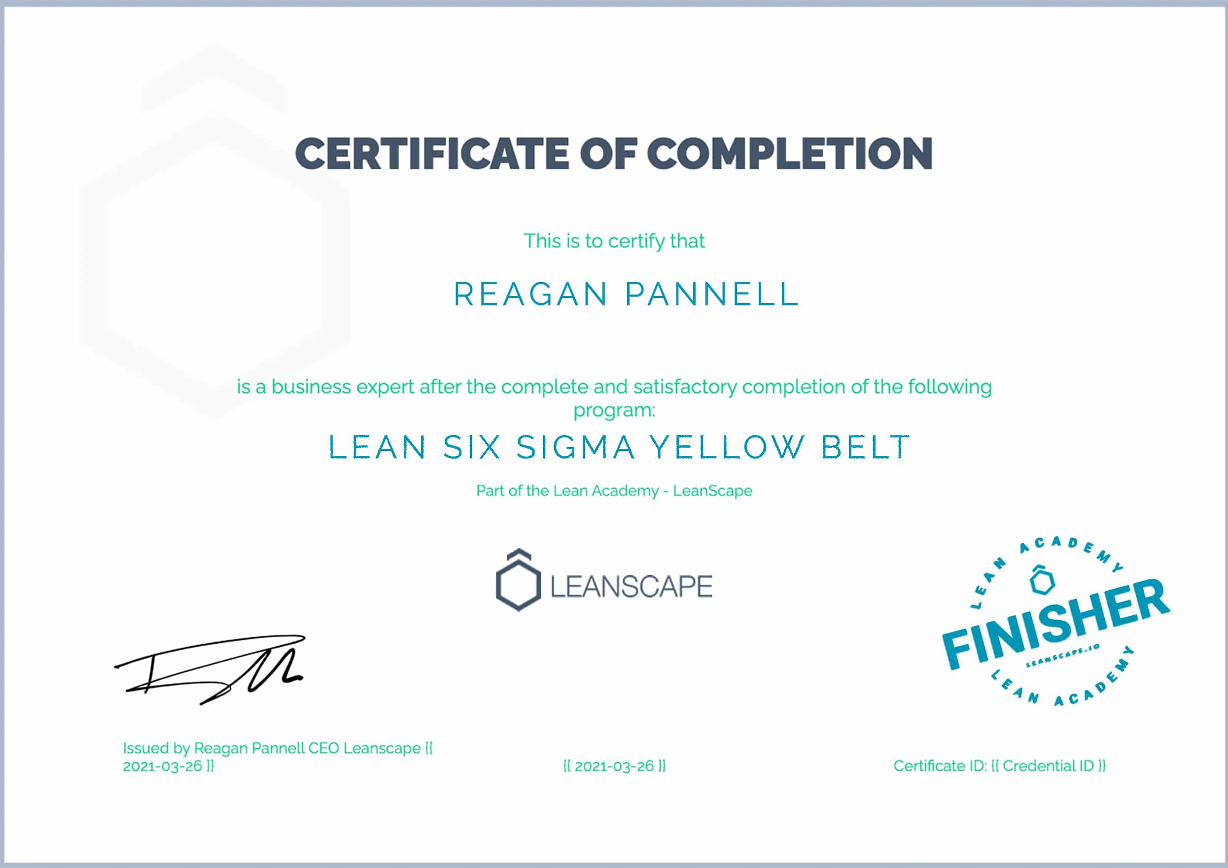 Lean Six Sigma Yellow Belt Certificate